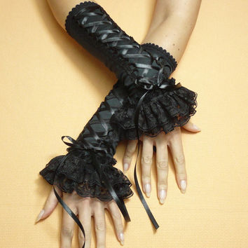 Black Gothic Corset Gloves, Armwarmers with Double Lace Frill, Gothic Lolita Halloween Costume, Belly Dance, Renaissance Baroque, Ruffle