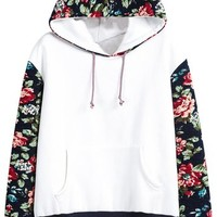 Sheinside® Women's White Hooded Contrast Floral Loose Sweatshirt