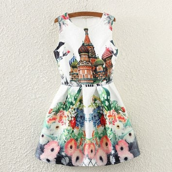 New 2015 Russian summer castle retro printing sleeveless women dress vestidos party dresses = 1753267652