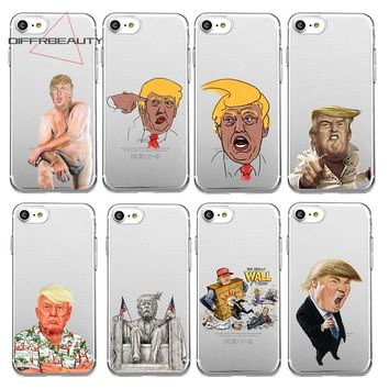 DIFFRBEAUTY Cartoon Funny Great Leader Trump Hillary Obama Flag Pattern Phone Case For iPhone X 6s Plus 7 8 Plus 5S  Soft Fundas