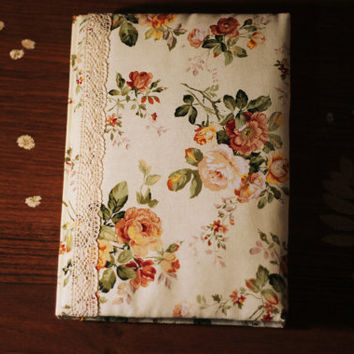 Flowers Journal, Handmade Diary, Travel Book, Old Paper,Floral Notebooks, Vintage Style, Lace