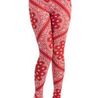 ModCloth 80s Long Skinny Strike Up the Bandana! Leggings in Red