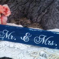 Nautical Wedding Sign Mr & Mrs. with Anchor NAVY Blue Wedding Decoration with stand SWEETHEART Table
