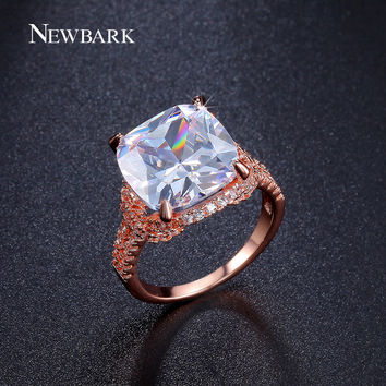 NEWBARK Big High Quality CZ Diamond Glow In The Dark Rings Rose Gold Plated Prong Setting Vintage Engagement Wedding Jewelry