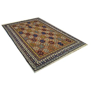 Oriental Shirvan Tribal Pure Wool Rug, Orange/Beige