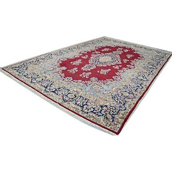 Oriental Kirman Persian Tribal Wool Rug, Red/Deep Blue