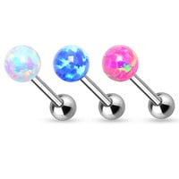 Tongue Ring Fire Opal 6mm Ball Internally threaded 14ga Surgical Steel