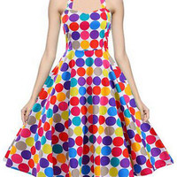 Audrey Hepburn Dress Retro Style 50s Colored Dotted Backless Midi Halter Vintage Swing Inspired Dress