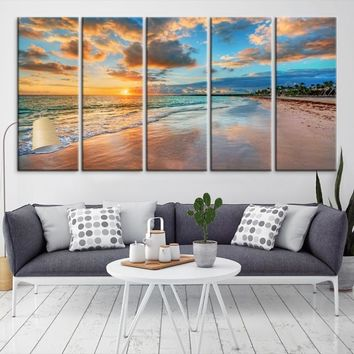 21053 - Sunset on the Beach and Clouds Wall Art Large Canvas Print