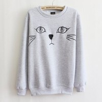 Women's clothing cartoon cat fleece sweater (gray)