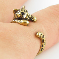 Golden Leopard Animal Wrap Adjustable Ring