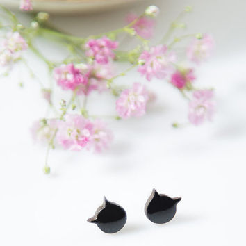 Cat stud earrings Black cat earrings Ceramic earrings handmade Cat studs Clay jewelry 10mm stud Cute posts sterling silver Ceramics pottery