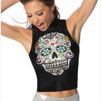 Skull And Floral Print Sleeveless Crop Tank Top