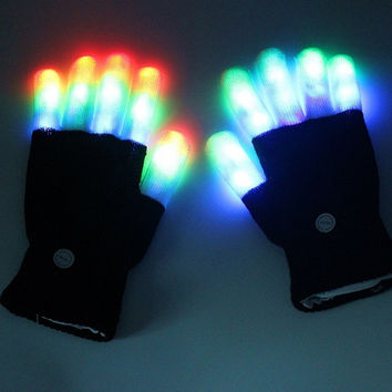 1 Pcs Led Rave Flashing Gloves Glow 7 Mode Light Up Finger Lighting Black