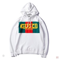GUCCI 2018 autumn and winter models men and women wild long-sleeved hooded loose coat White