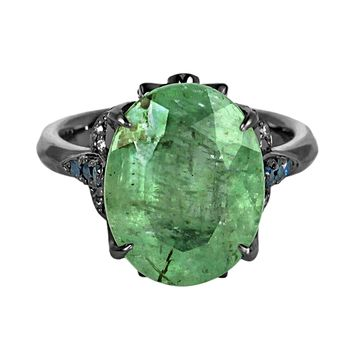 8.71tcw Oval Emerald & Damonds in 925 Sterling Silver Cocktail Ring