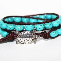 Sea Turtle Bracelet, Leather Beaded Wrap Bracelet 2x, Beachy Jewelry, Nautical Jewelry, Bohemian, Boho Chic, Surfer Chic