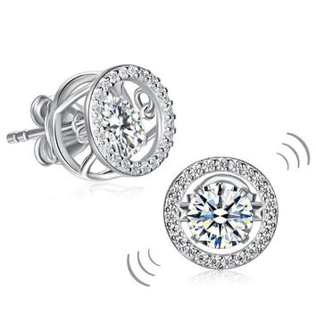 Classic Dancing Stone Stud Earrings Solid Sterling Silver Simulated Diamond