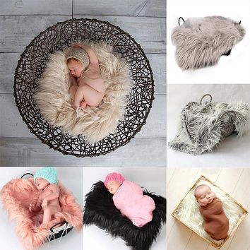 Newborn Photography Props Soft Baby Fur Blankets Faux Fur Background Blankets Cute Infant Kids