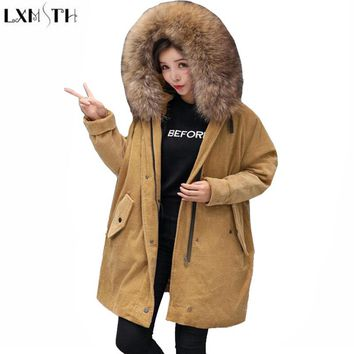LXMSTH Corduroy Coat Winter New Korean Slim White Duck Down Womens Really Raccoon Fur Hood Long Parka Jacket Women Warm