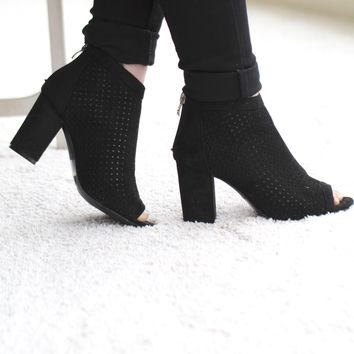 Suede Peep Toe Ankle Bootie