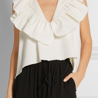 Chloé - Ruffled cotton and linen-blend twill top