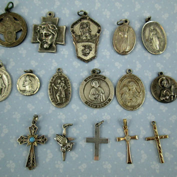 Religious Medals Crosses Lot of Vintage plus Antique Sterling Silver Medals Crosses Plus 2 Gold Filled Crosses 16 Pieces COUPON CODE SALE