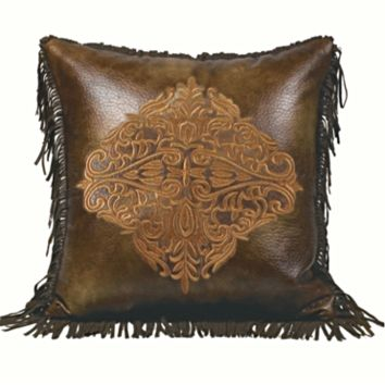 Cowgirl Kim Faux Leather Pillow w/ Gold Embroiderd Medallion Center