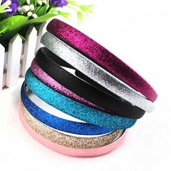 2 pcs/pack Fashion Lady Girls Glitter Headbands Sparkling Hoop Hair Leather Plastic Hair Band Hair Band Accessories