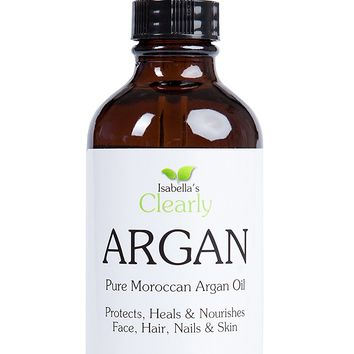 Isabella's Clearly ARGAN, 4 Oz, Pure Moroccan Argan Oil to Protect, Moisturize, Nourish Face, Hair & Nails. Packed with Vitamins C, A, E. Anti-aging Serum for All Skin and Hair Types.