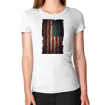 American Flag Ripped Grunge Women's T-Shirt