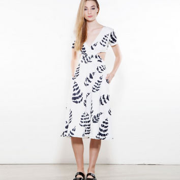 Sam & Lavi Lola Feather Midi Cutout Dress