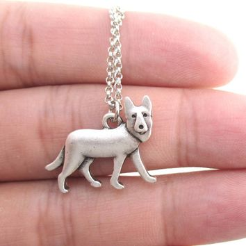 German Shepherd Dog Breed Shaped Charm Necklace in Silver