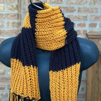 Knitted Scarf - Pittsuburgh Football Fan Scarf - Gold and Black - 6ft - Mens Scarf - Womens Scarf