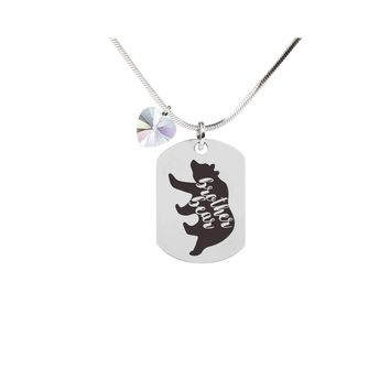 Inspirational Tag Necklace In AB Made With Crystals From Swarovski  - BROTHER BEAR