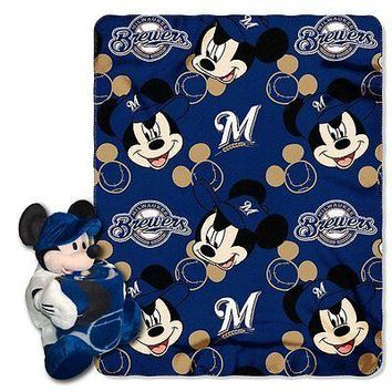 Milwaukee Brewers MLB Mickey Mouse Throw and Hugger Pillow Set