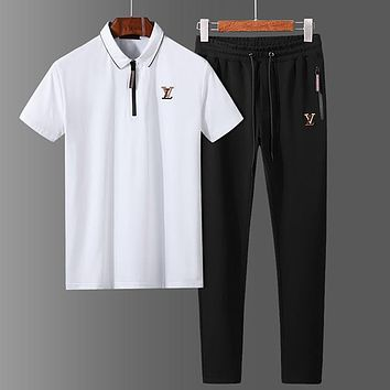 Boys & Men Louis Vuitton Top Sweater Pullover Pants Trousers Set Two-Piece Sportswear