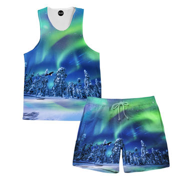 Aurora Borealis Tank and Shorts Rave Outfit