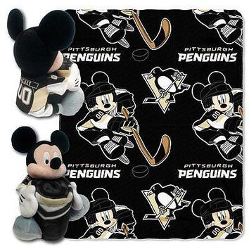 Pittsburgh Penguins NHL Mickey Mouse Throw and Hugger Pillow Set