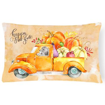 Fall Harvest Silver Poodle Canvas Fabric Decorative Pillow CK2669PW1216