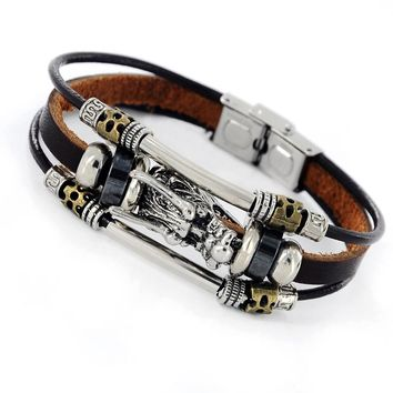 New Fashion Bracelet Men Accessoires Homme Tibetan Silver Men Leather Bracelet Vintage Parataxis Dragon Multilayer Jewelry Z-408