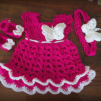 Crochet baby dress baby girl dress newborn first outfit pink baby outfit butterfly headband ruffle baby dress  baby headband infant dress