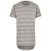 Grey Striped Pattern Long Hem T-Shirt