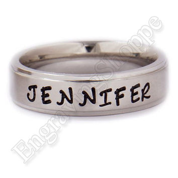 CUSTOM COUPLES Name RING Personalized Band Hand Stamped Ring Wedding Band Promise Ring Stainless Steel Ring 6mm TriBand Silver Promise Ring