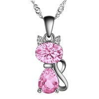 High Quality Silver Cat Pendant Pink Austria Crystal AAA CZ Pendants Fit Necklaces Chain For Women Girls Charm Fashion Jewelry