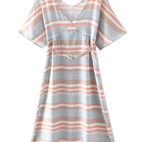 Multicolor V-neck Stripe Side Split Belted Dress