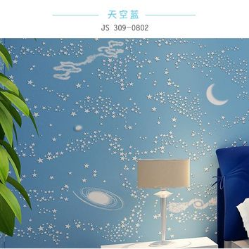 Modern Boys Or Girls Bedroom Wallpaper Non-woven Blue Sky, Star And Moon