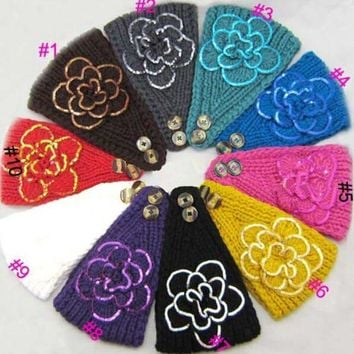 2014 New women knitted sequins headband flower Crochet Headwrap Ear Warmer for Girls Teens Women 10 pcs/lot