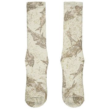 Prehistoric Fish Fossils All Over Soft Socks