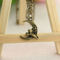 dream necklace--Rabbit ran to the moon necklace,antique bronze charm pendant,alloy chain,friendship necklace